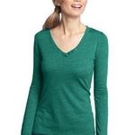 Ladies Textured Long Sleeve V Neck with Button Detail