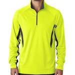 UltraClub® Adult Cool & Dry Color Block Dimple Mesh 1/4-Zip Pullover