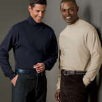 UltraClub Adult Egyptian Interlock Long-Sleeve Mock Turtleneck